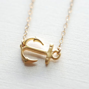 Sideways Anchor Necklace- Off Center Anchor, Gold Anchor Necklace, Dainty Jewelry by HeirloomEnvy