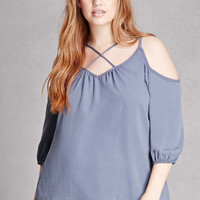 Plus Size Strappy Cutout Top