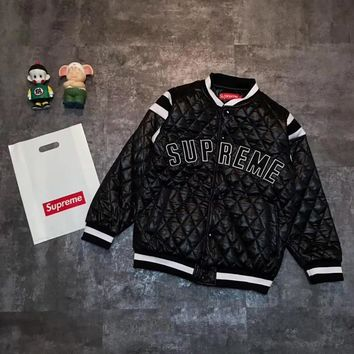Supreme Women Men Fashion Logo Embroidery Cardigan Jacket Coat