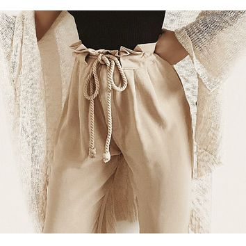 Khaki Rope Tied Trousers