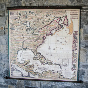 4th of July ahead - Great Map Of Colonies North America Canada 1733 Canvas Antique Wooden Frame Large Wall Decor War Ships American History