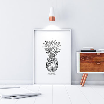 Good Vibes Pineapple Decor Coastal Wall Art Tropical Wall Decor Pineapple Print Good Vibes Quote Prints Beach Decor Tropical Plants Digital