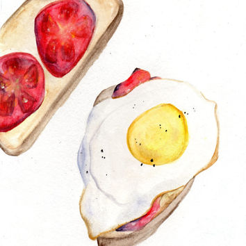 Egg and Tomato Toast Watercolor Painting, Kitchen Art, Home Decor, Food Painting