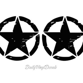 Set of 2 Distressed Jeep Military Stars - Jeep Wrangler Willys Style Stars Rubicon YJ TJ Limited Sport Rubicon - Its a jeep thing dodg mopar