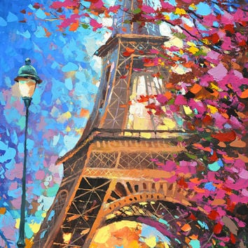 "Paris autumn - Oil Palette Knife Painting on Canvas by Dmitry Spiros. Size: 28""x36"" (70 cm x90 cm)"