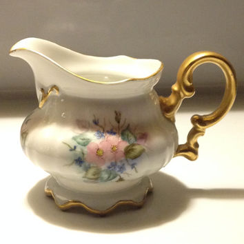 Hutcshenruether Selb Bavaria Satin Cream Pitcher Hand Painted Gold Gilt Vintage 1970s