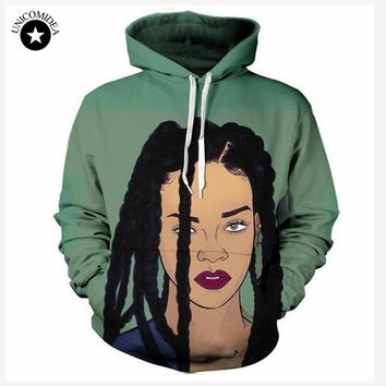 Unicomidea Green Sweat Shirts Men Women Hoody Brand Harajuku Rihanna Printed