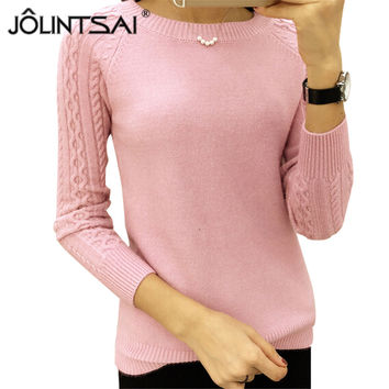 6 Colors Sweaters Women 2016 Hot Sale Winter O-neck Long Sleeve  Pullovers Knitted Sweater Female Warm Tops Plus Size