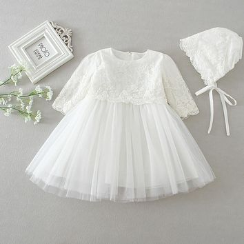 HAPPYPLUS White Lace Long-sleeve Baby Dress Christening/Baptism with Hat, Hot Selling Baby Girl 1st 2nd Birthday Dresses Party