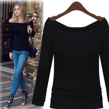 Women's Fashion T-shirts Sexy Slim Long Sleeve Bottoming Shirt [6281579716]