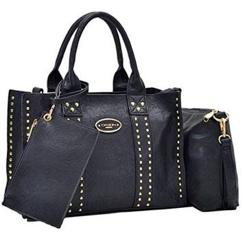 Dasein Designer Studded Pack 3 Medium Tote Bag Satchel Handbag with Detachable Organizer Pouch and Matching Wristlet
