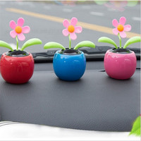 Auto Solar Ornament Car Decoration Power Flower Flowerpot Car Interior Toy Gifts