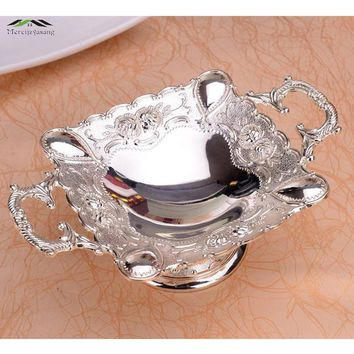 Luxury Shiny Silver Plated European Plate With Handle for Fruit/Dish/Dessert Or Snack 21*7CM