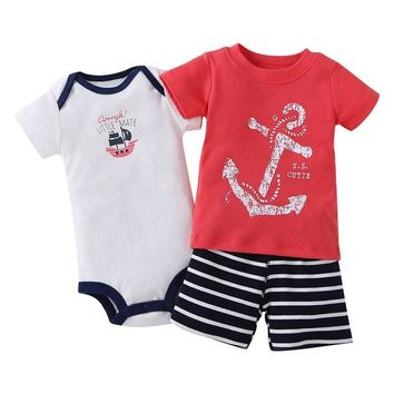 Rompers Boys Striped Clothes 3 Pieces/set