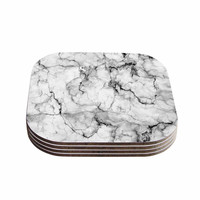 "Chelsea Victoria ""Marble No 2 "" Black Modern Coasters (Set of 4)"