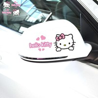 Car Sticker and Decals 2PCS/Lot Cute Hello Kitty Car Rearview Mirror Decal Lovely Styling Car Accessories Vinyl Decal