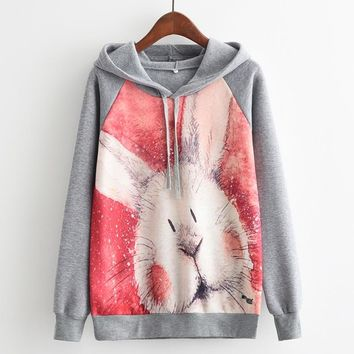 Long Sleeve Sweater - Cute Rabbit All Over Print Women's Hoodie