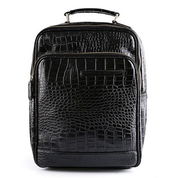 Backpack With Crocodile Print and Black Design