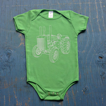Baby Bodysuit - Baby Onesuit - Tractor Onesuit - Baby Boy | Baby Girl - Gift for New Baby - Baby Shower Gift - Green Onesuit - Cool Baby Gift