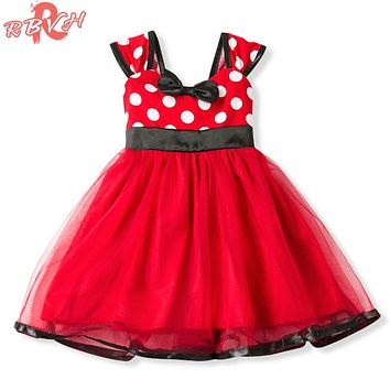 Fancy Toddler Baby Girl Party Frock Red 1st Birthday Twirly Dresses For Girls Kids Clothes Polka Dots Baby Cartoon Dress Up