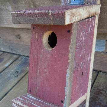 Rustic Birdhouse | Primitive Reclaimed Barn Wood Bluebird Bird Box | Nest Nesting Box | Bird House | Unique Gift