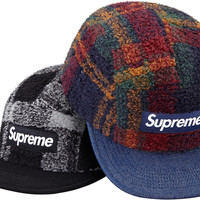 Supreme Plaid Fleece Camp Cap
