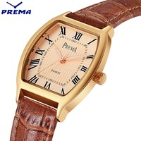 Relogio Feminino PREMA Women Watches Montre Femme Marque De Luxe Leather Band Tonneau Shape Quartz Ladies Watch Reloj Mujer
