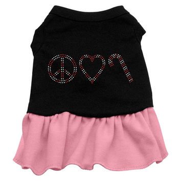 Peace Love Candy Cane Rhinestone Dog Dress - Black with Pink/Extra Small