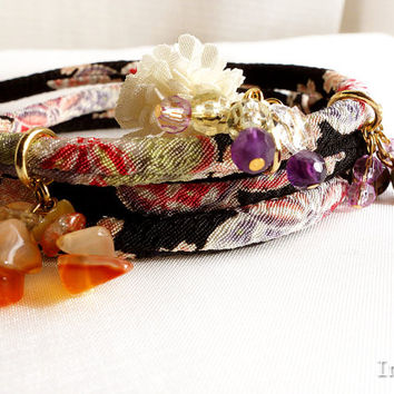 Kimono Bracelet, Choker necklace, Japanese Jewelry, Tiny Sakura in the night black  - HANA MORI -