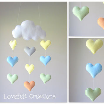 Baby mobile - crib mobile - Heart mobile - cloud mobile