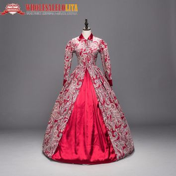 5cbf846b0de0 Victorian Gothic Period Red Cotton Dress Ball Gown Ghost Reenactment Witch Steampunk  Costume