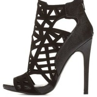 Laser Cut-Out Peep Toe Booties by Charlotte Russe