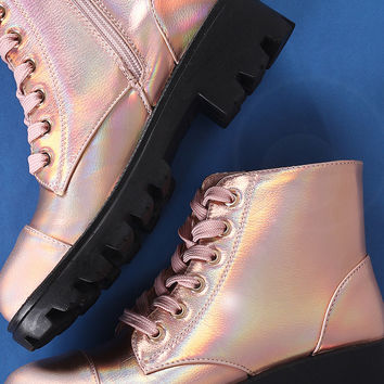 Holographic Combat Ankle Boots | UrbanOG