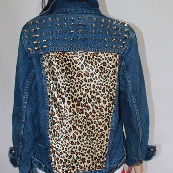 Cheetah Back Studded Denim Jacket