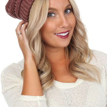 Heathered Knit Beanie Wine