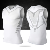 Mens Running Vest Compress Sleeveless T Shirt Spandex Fitness Athletic Gym Running Shirts