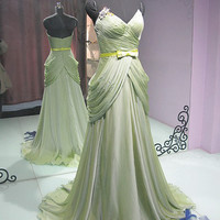 A-Line Sweetheart Green Chiffon Prom Dress ,Bridesmaid Dress
