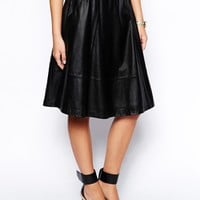 ASOS Midi Skirt In Leather With Pockets at asos.com
