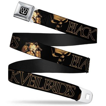 Black Veil Brides Men's  Morning Star Skulls Seatbelt Buckle Belt