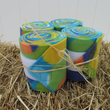 Set of 4 Polo Wraps for Horses- Blue, Yellow, Green, Purple Bubble Print Fleece