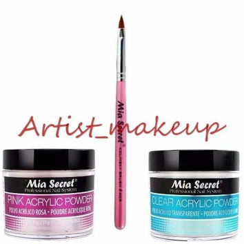 Mia Secret Acrylic Nail Powder Pink + Clear 2 oz + Kolinsky Brush# 4OR