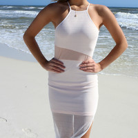 Strappy Sexy Women Sheath Dresses Hollow Out Lady Beach Tight Robe Blanche