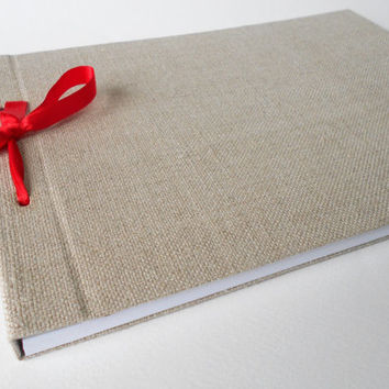 Refillable fabric sketchbook journal with 80 sheets, A4 hardcover journal, personilized refillable journal with ribbon lash down binding