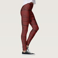 Red Abstract Cross Pattern Leggings