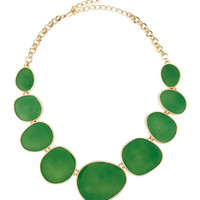 Oval Enamel Station Necklace, Green