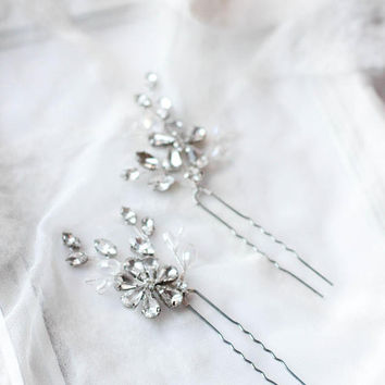 Wedding Hair Pins Crystal Decorated Hair Piece Wedding Hair Accessory Crystal Bobby Pins Bridal Hair Pin PAIR OF PINS Floral Crystal Pins