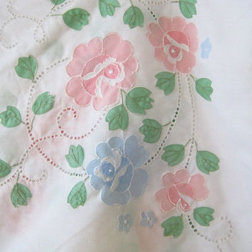 1960s Vintage Blue/Pink Flower Applique Bedsheet - Long White Twin Sheet; Cotton with Floral Embellishment - Floral Cottage Chic White Sheet