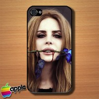 Lana Del Rey Blod Lips With Blue Rose Custom iPhone 4 or 4S Case Cover
