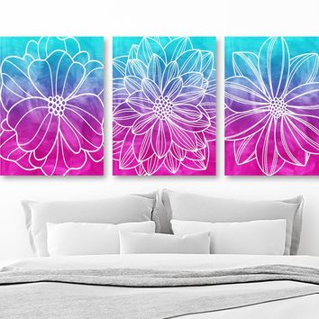 WATERCOLOR Flower Art, Watercolor Painting Blue Fuchsia Flower CANVAS or Print, Abstract Wall Hanging, Bedroom Art Bathroom Decor Set of 3