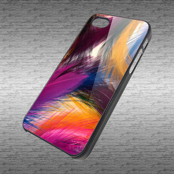 Rainbow Feather Custom Art Design for Hard Black / White Plastic  iPhone 4/4s or iPhone 5 case